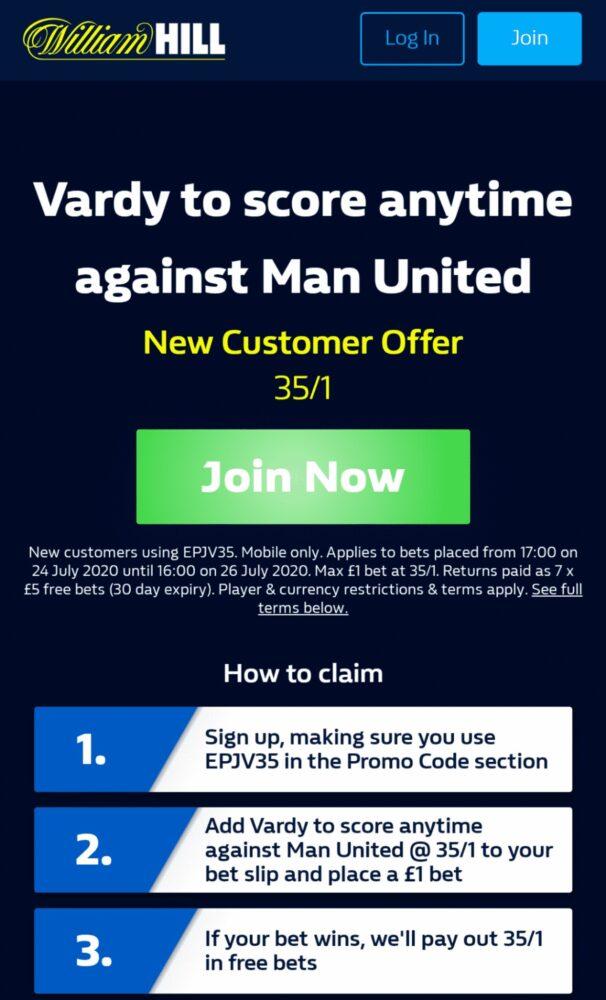 Jamei Vardy to score v Man Utd
