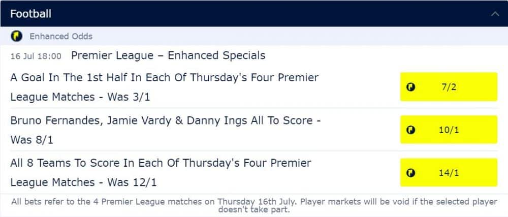 William Hill Enhanced odds