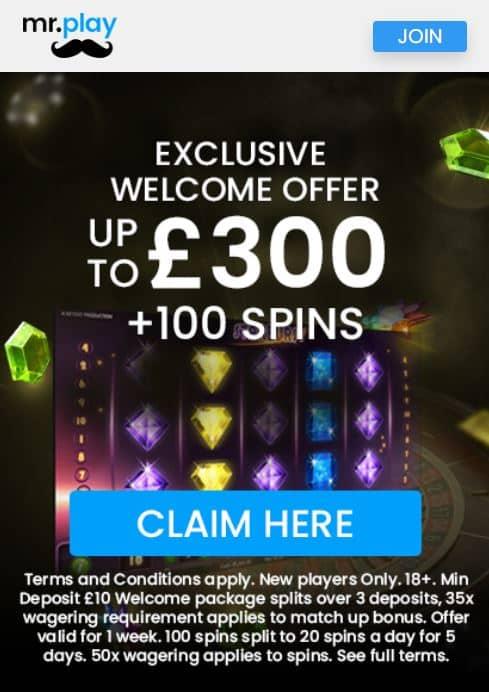 Mr Play casino sign-up bonus
