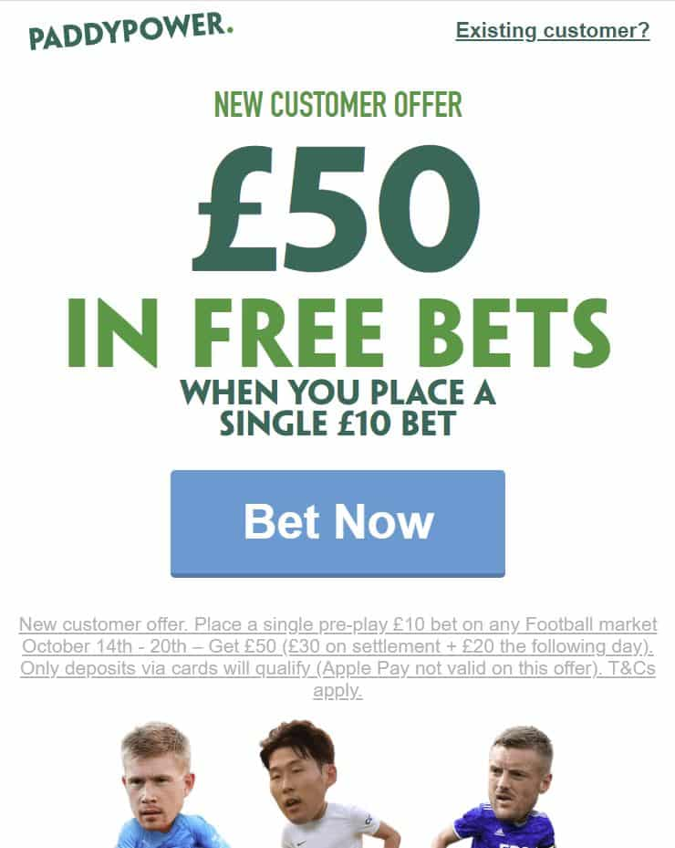 Paddy Power £50 sign-up offer