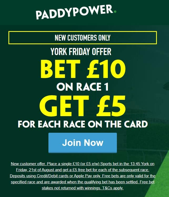 York £5 free bets
