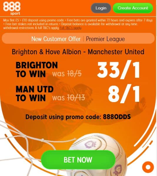 Brighton vs Man United price boosts