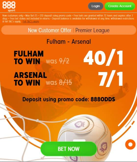Fulham vs Arsenal price boost