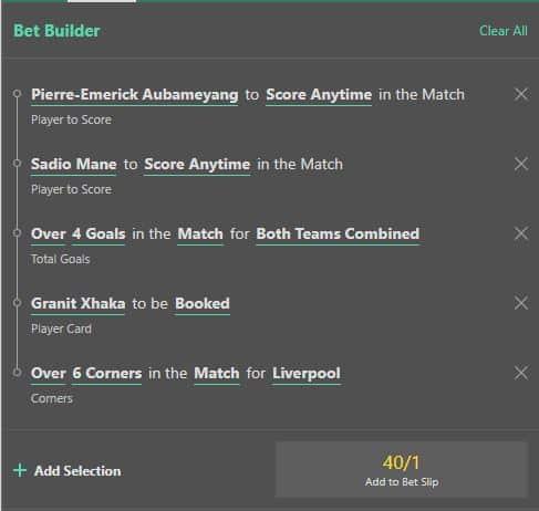 Liverpool v Arsenal bet builder betting tip