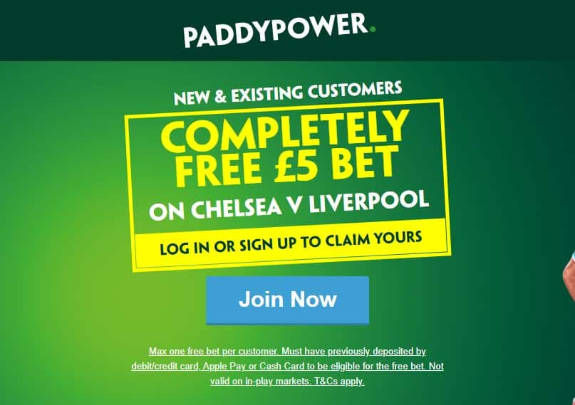 Free £5 bet Chelsea v Liverpool