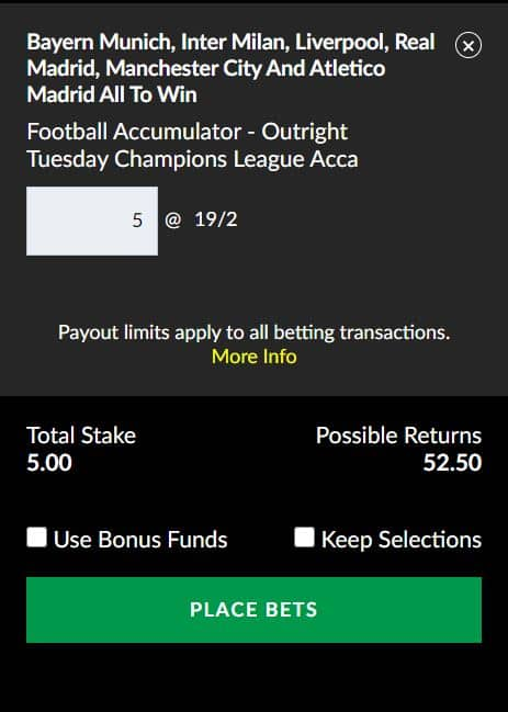 Champions League accumulator tips