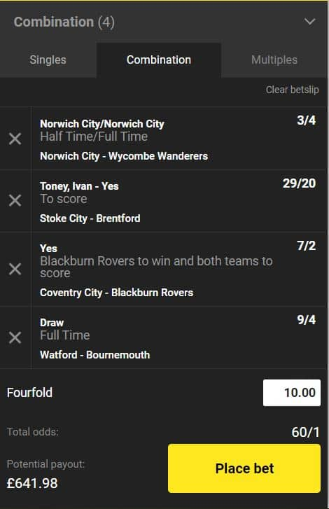 Championship accumulator tips