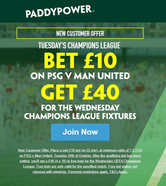 PSG vs Man United Paddy Power offer