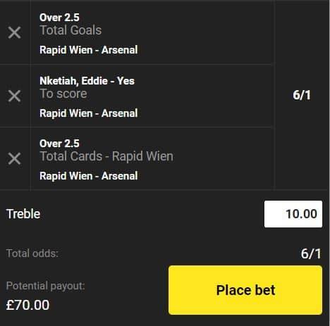 Rapid Vienna vs Arsenal bet builder tip