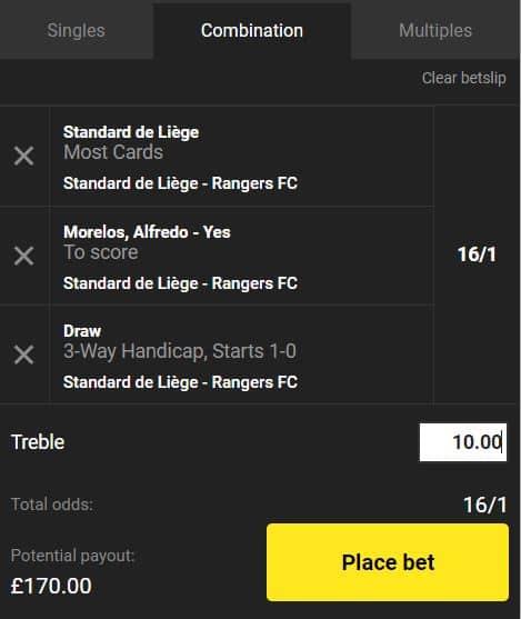 Standard Liege vs Rangers bet builder tip