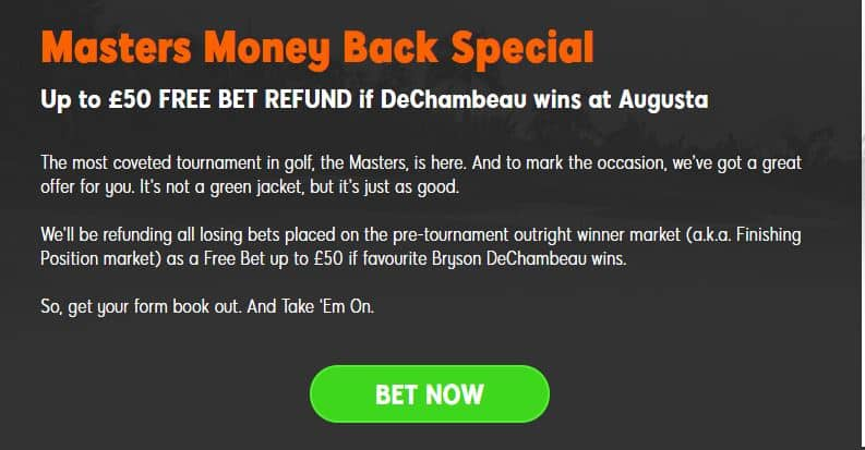 US Masters betting offers