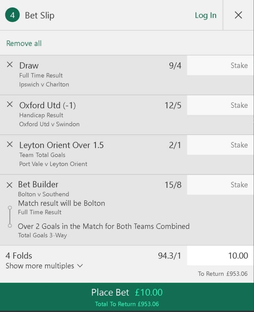 Football league accumulator tips
