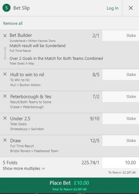 League One accumulator tips