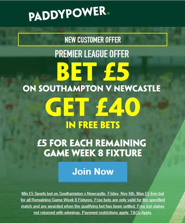 Paddy Power free bets offer