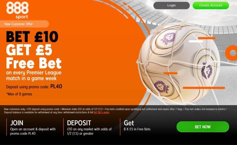 888Sport bet £10 get £40 free bets