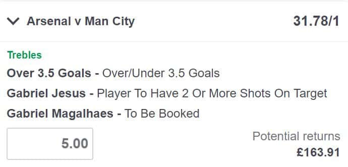 Arsenal vs Man City bet builder tip