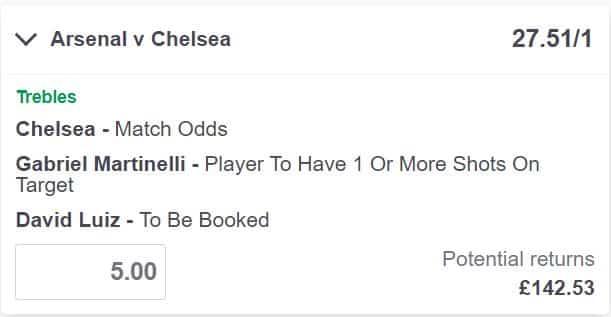 Arsenal vs Chelsea bet builder tips