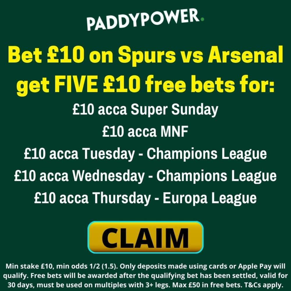5 free £10 bets Paddy Power