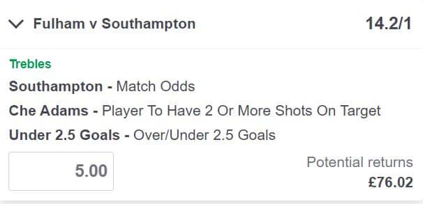 Fulham vs Southampton bet builder tip