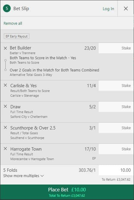 League Two accumulator tip