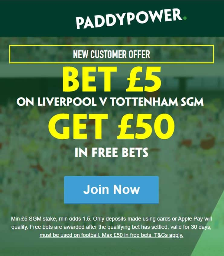 Liverpool vs Spurs Paddy Power