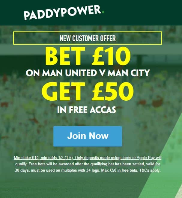 Manchester derby free £10 bets