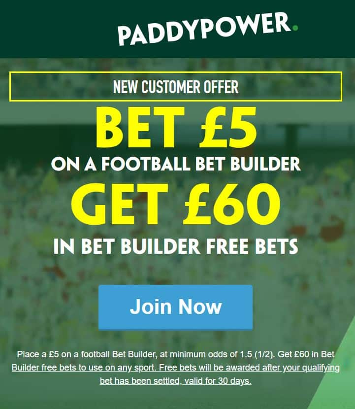Paddy Power £60 in free bets