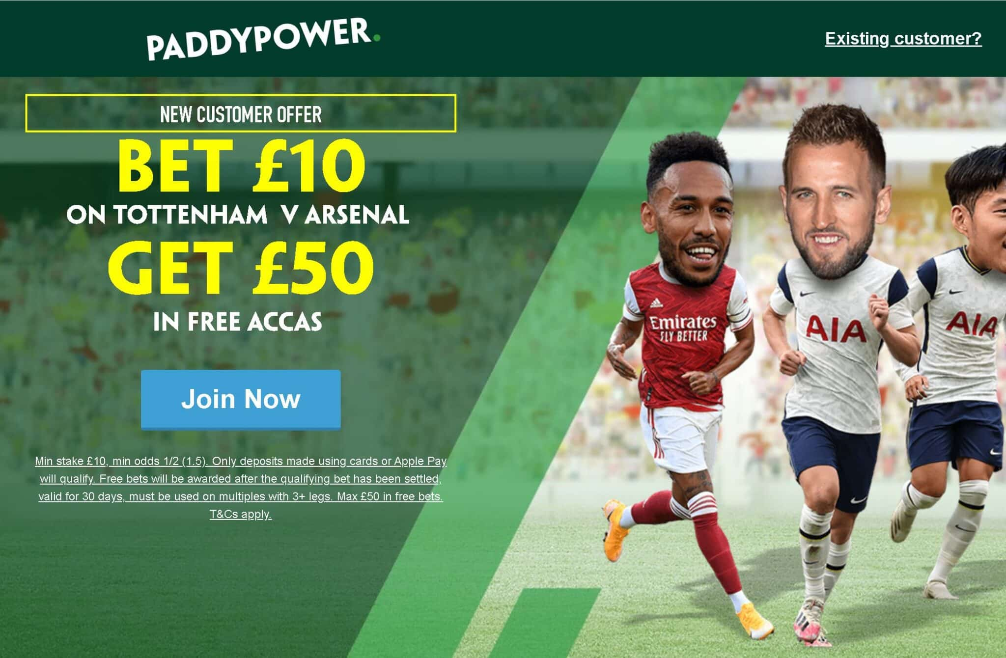 Spurs v Arsenal free bets