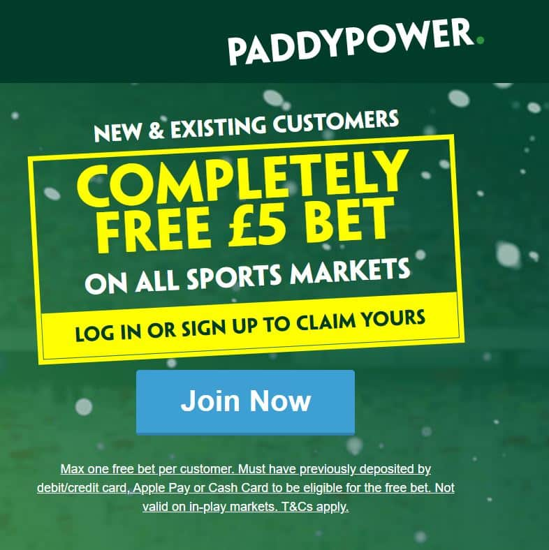 Paddy Power risk free £5 bet