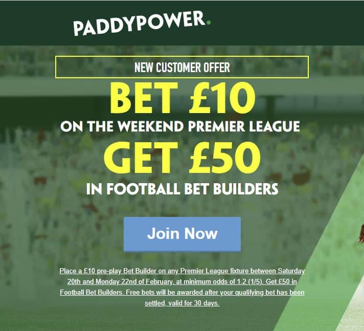 Paddy Power £50 in free bets