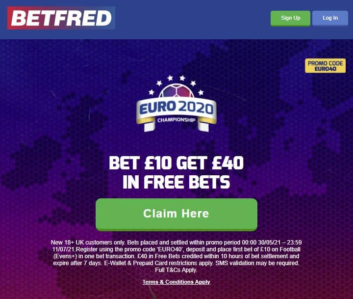 Betfred's Euro 2020 sign-up offer