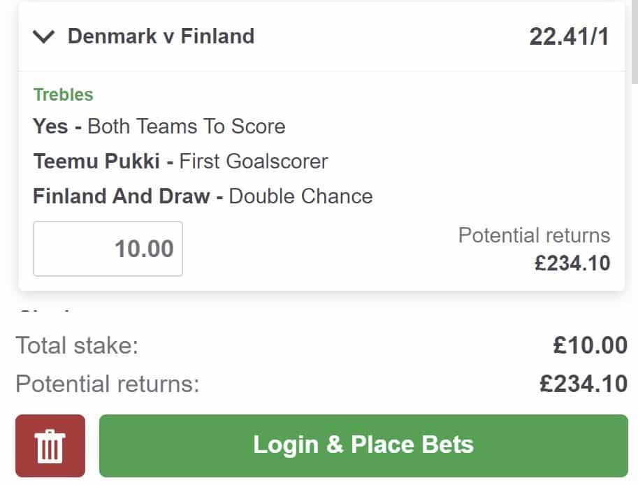 bet builder tip Denmark vs Finland