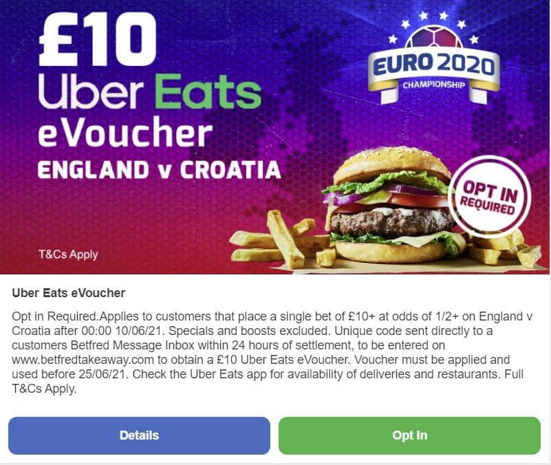 England Croatia Uber Eats voucher