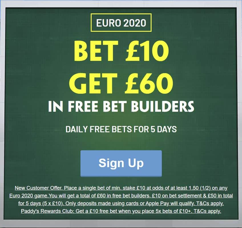 Paddy Power Euro 2020 free bets