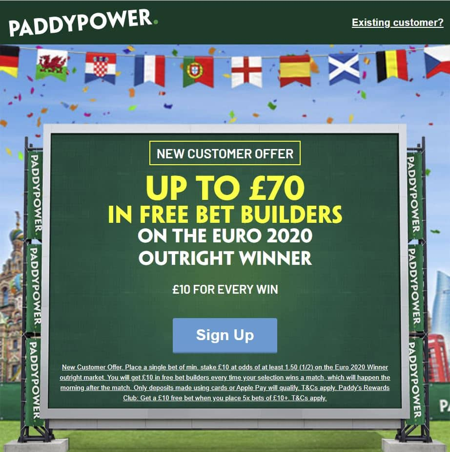 Paddy Power Euro 2020 offer
