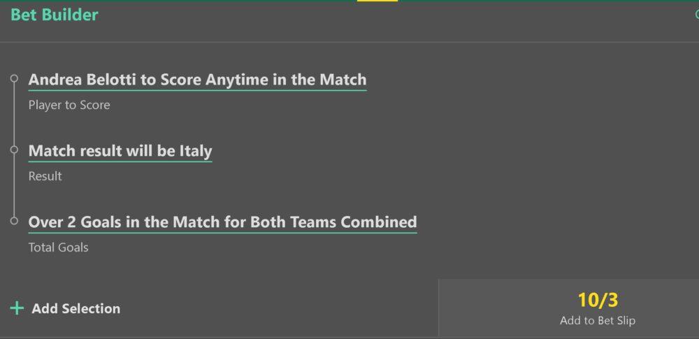 Turkey vs Italy bet builder tip