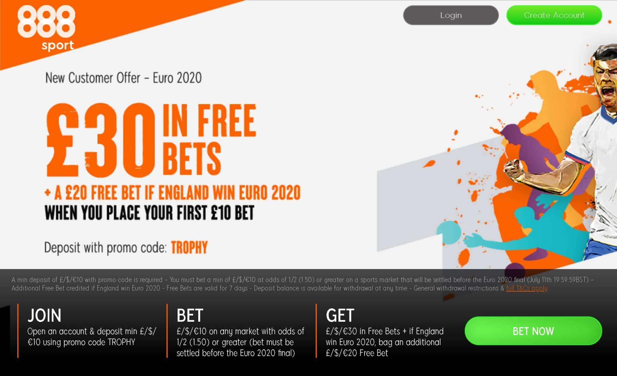888Sport Euro 2020 offer