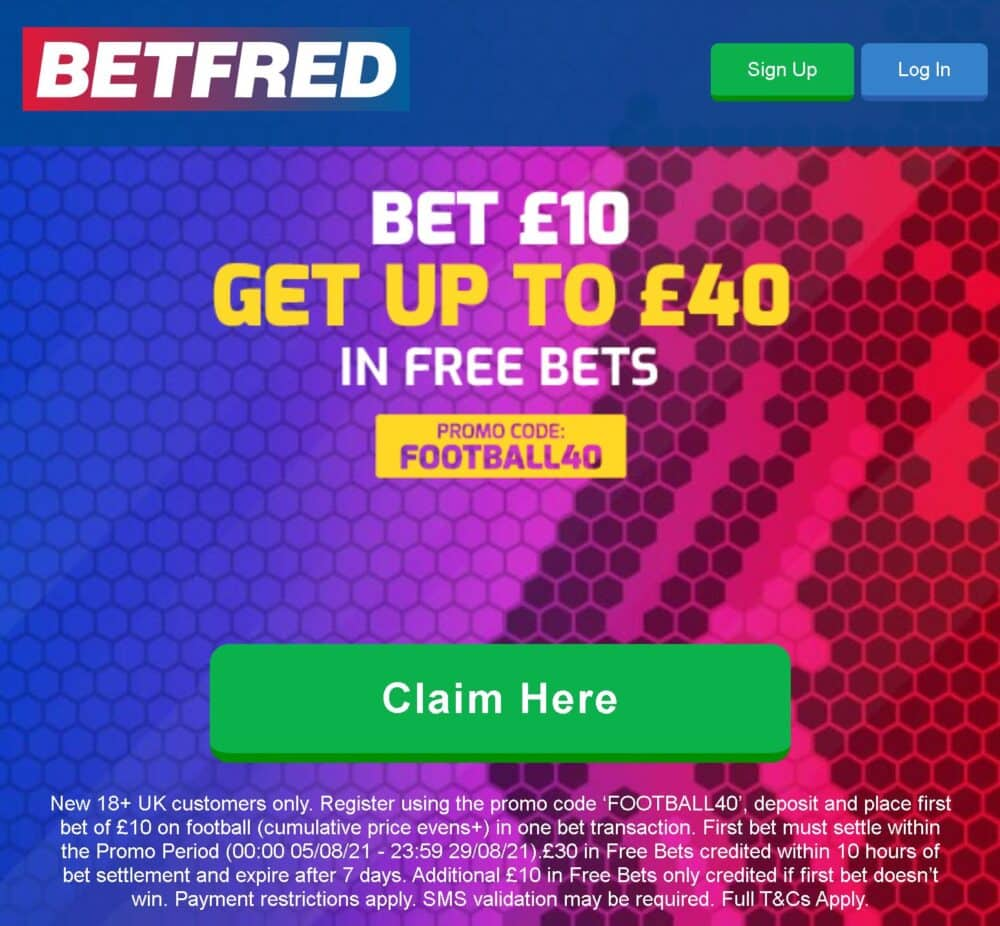 Betfred sign-up offer 40