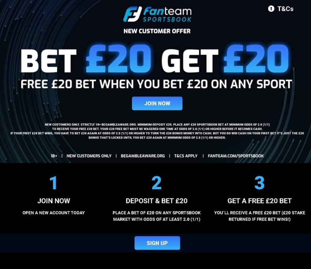 FanTeam £20 free bet