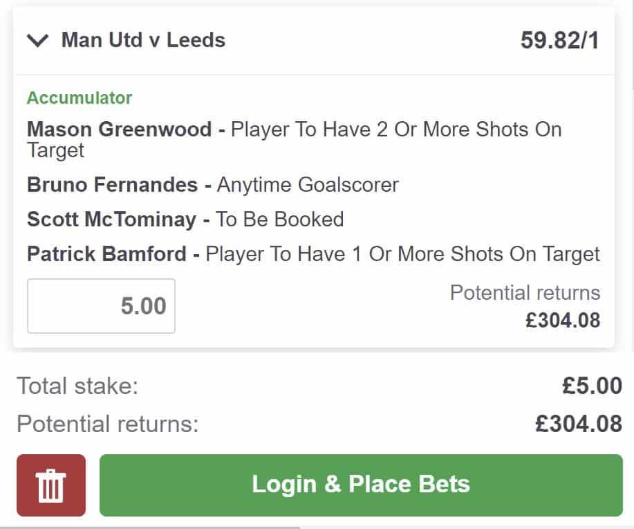 Man United v Leeds bet builder