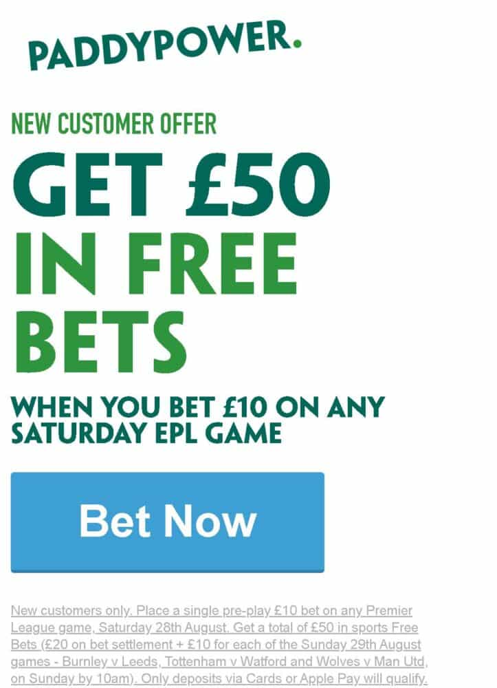 Paddy Power £50 free bets