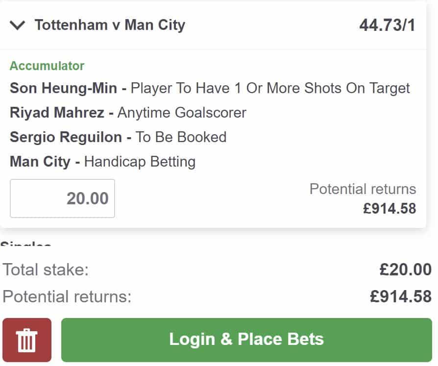 Spurs vs Man City bet builder
