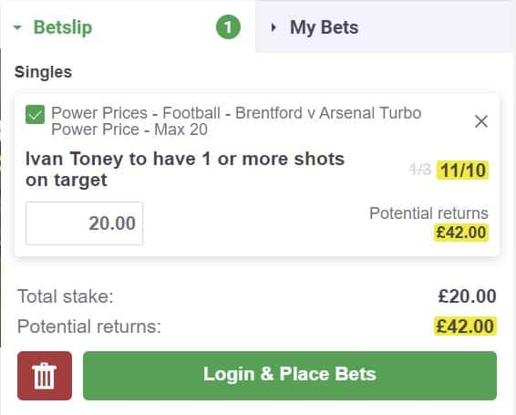 Toney SOT price boost