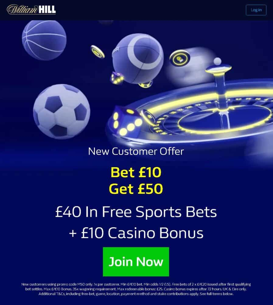 William Hill £50 sign-up offer