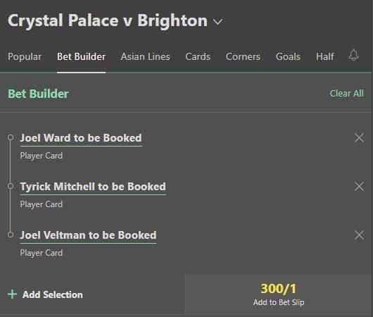 Palace vs Brighton bet builder