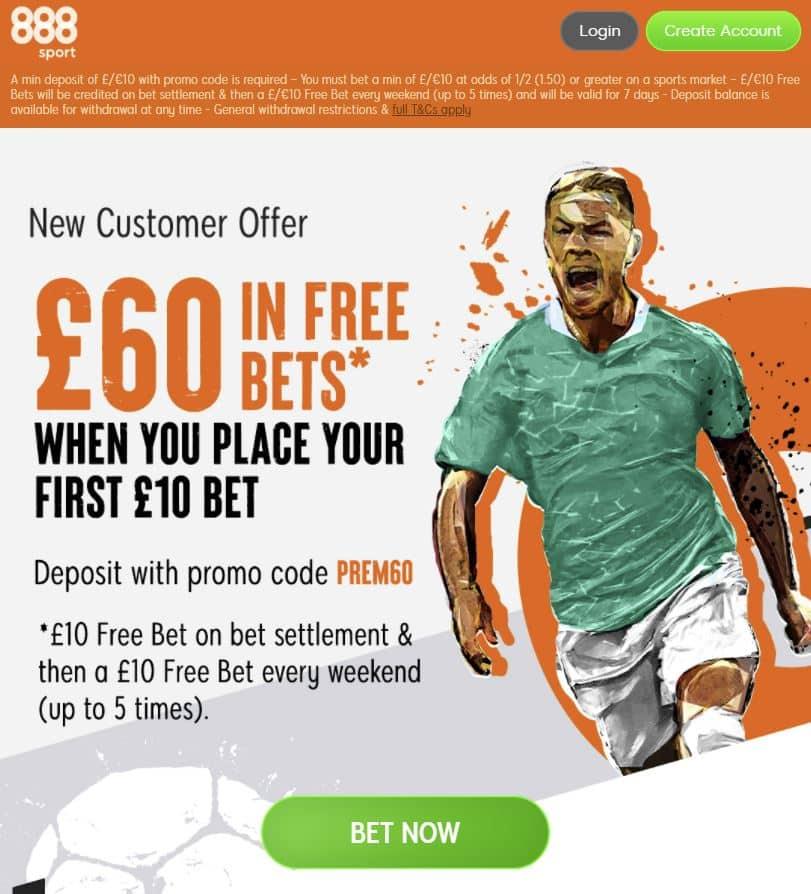 888Sport £60 sign-up offer