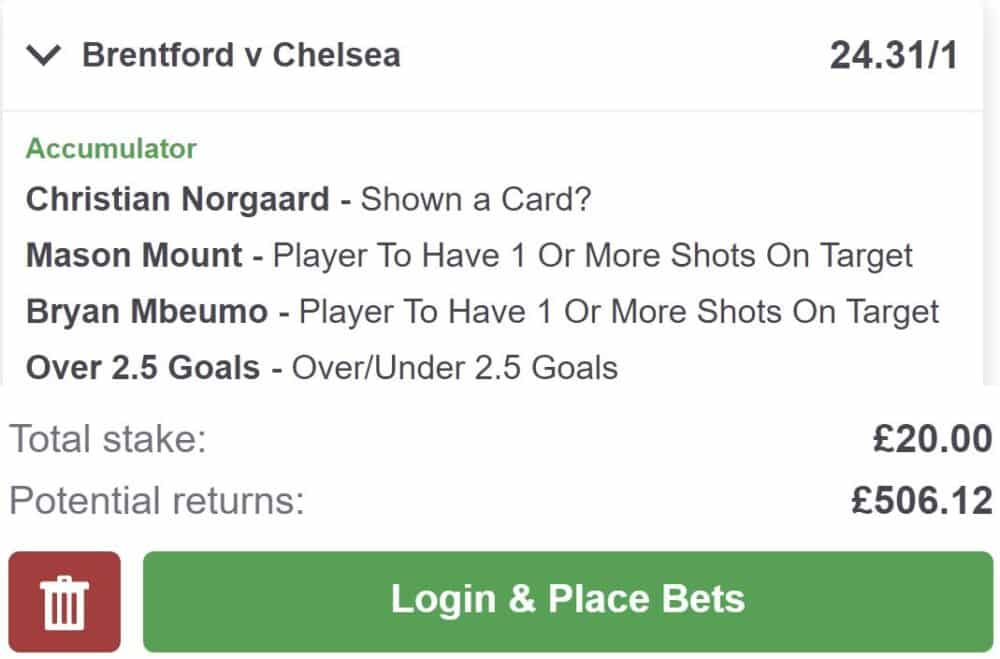 Brentford vs Chelsea bet builder tip